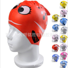 Professional Waterproof Customized Logo Print Silicone Childrens Swimming Cap