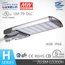 50000 Hours Lifetime 200W High Lumen LED Street Light with Philips Chips