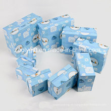 Personalizada de papel de lujo caja de almacenamiento de papel de pantalla Diseñador de embalaje de regalo para bebé paño / juguete