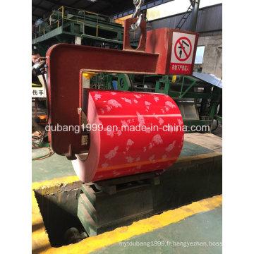 Bobine d'acier galvanisée pré-peinte avec l'exportation rouge de base rouge de fleur en Corée