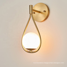 Hotel Indoor Decorative White Glass Ball LED Wall  Lamps Lighting