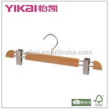 High grade beech wooden hanger with metal clips