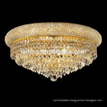 Antique Gold Crystal Drop Decorative Ceiling Light Fixture for Restaurant
