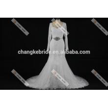 Scoop Neck Sheer Top Half Sleeve Embroidery Organza Saudi Arabian Wedding Dress