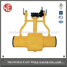 Rubber worm fully welded ball valve