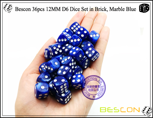 Bescon 36pcs 12MM D6 Dice Set in Brick, Marble Blue-4