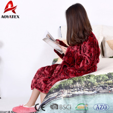 Beautiful printed women spa flannel fleece bathrobe