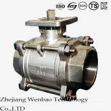 Válvula de bola de la plataforma del hilo femenino 3PC con la almohadilla de montaje ISO