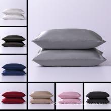 Однотонный стандартный чехол для спальной подушки из 100% атласного шелка