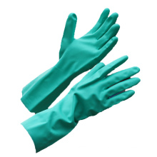 NMSAFETY nitrilo verde totalmente revestido de luvas químicas longas