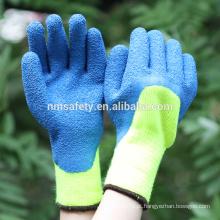 NMSAFETY Hi-viz amarelo fralda acrílico revestido de luvas de inverno verde