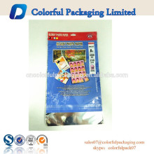 2015 Custom printed OPP plastic bag with self adhensive strip and Euro hole