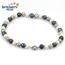 New Design Pearl Bracelet 10mm Potato Mixed Color Genuine Pearl Bracelet