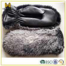 Bunny Fur And Black Leather Mittens Fur Glove For Winter