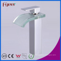 Fyeer High Body Chrome Plated Color Glass Square Spout Single Handle Bathroom Wash Basin Brass Faucet Water Mixer Tap Wasserhahn