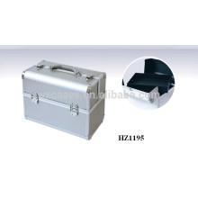 cosmética profesional de aluminio de plata bolsos casos con bandejas dentro