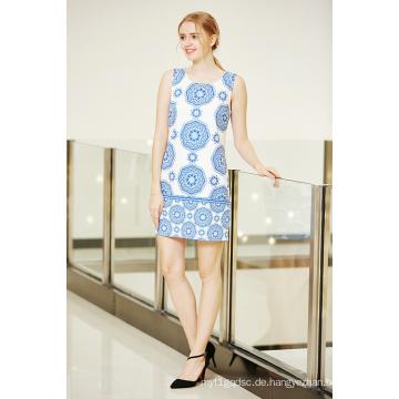 Sleeveless Rundhals Digital Border Printing Tunika Kleid