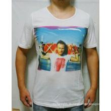 Benutzerdefinierte Baumwolle Großhandel Mode Weiß Digitaldruck Männer T-Shirt
