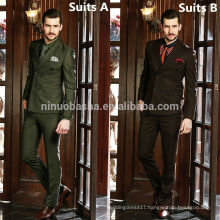 Top Men's Suit Formal Wear Fabric 2014 Wasabi Green Deep Brown Two Colors Attractive Men's Wedding Suits Business Suits NB0563