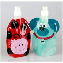 Botella de agua plegable de alta calidad, botella plegable portátil verde del deporte de la botella de agua