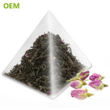 Sachets de thé formés par pyramide de triangle en nylon biodégradable de catégorie comestible de thermosoudure d'OEM de chaleur / sachets de thé