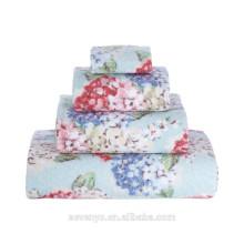 Diseño de lujo del terciopelo que imprime la toalla hermosa del regalo de boda de las flores que establece el proveedor de China al por mayor de HTS-125