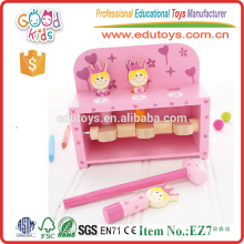 Girl's Pink Bench Wooden Pounding Spielzeug