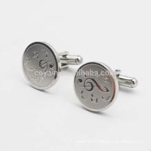Boutons de manchette à la mode en métal argenté en forme de ronde