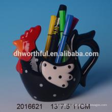 Soporte de lápiz de cerámica de alta calidad al por mayor, titular de cerámica lápiz de gallo