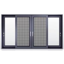 Fenêtres coulissantes en verre teinté avec moustiquaire en fibre de verre