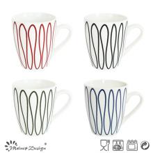 12oz taza de porcelana con diseño azul Goemetrical creativo