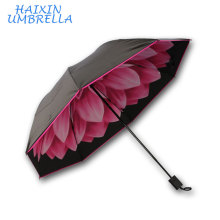 Waterproof Fabric Folding Inside Print Top Level Super Mini Telescopic Folding Umbrella with Case