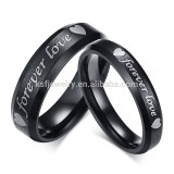 KSF IP black plated rings set fashion stainless steel ring for couple ro engrave name