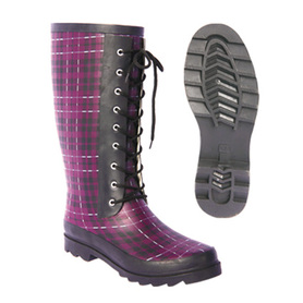 Lady fashion european rubber lace up rain boots