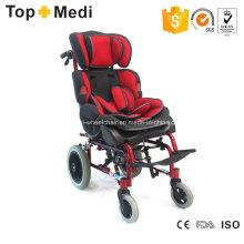 Topmedi Fauteuils roulants inclinables en aluminium à dossier haut pour enfants atteints de paralysie cérébrale