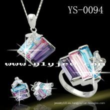 Conjunto de joyas de plata 925 Juego de colores Multil Cubic Ziconia Jewelley.