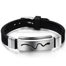 2015 novo titânio aço 316L pulseira de couro dourado $ serpente pulseira de couro PH966