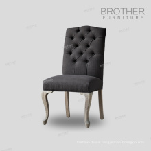 Factory direct sales 100% Cotton Fabric dining chair with tufting back