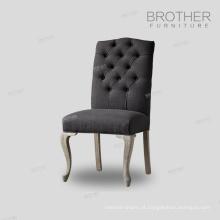 Vendas diretas da fábrica 100% Algodão Tecido cadeira de jantar com tufting voltar