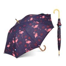 Nuevo paraguas de impresión de transferencia de calor Flamingo con impresión de logotipo
