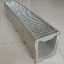 Canal de drenaje de polímero de rejilla de acero inoxidable perforado