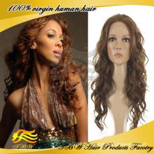 Perucas francesas brasileiras do cabelo humano da onda do cabelo humano do Virgin das mulheres românticas