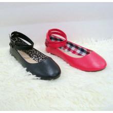 Popular women flat sole shoe buckle Fashion latest belt buckle women flat shoes ladies ballerina shoes