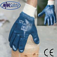 NMSAFETY Heavy duty knit luvas de trabalho de pulso nitrilo mergulho gás óleo resistente luva