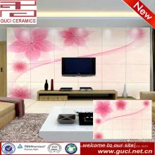 Projeto da flor 3D Sala de estar TV fundo telha da parede de cerâmica