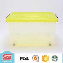 Прочный многоцелевой большая емкость прозрачный пластиковый ящик для хранения с колесами
