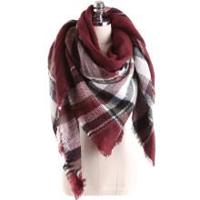 Las mujeres occidentales del estilo del tacto popular de la cachemira del tacto sienten la bufanda manta cuadrada de la tela escocesa