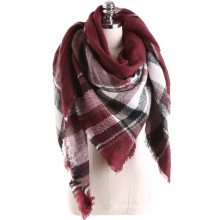 Popular premium western style women cashmere touch feel square plaid blanket scarf