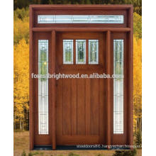 Knotty alder solid wooden glass door with glass sidelites