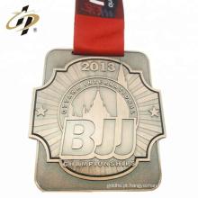Medalha de liga de zinco de metal de bronze personalizado bjj esporte com design próprio